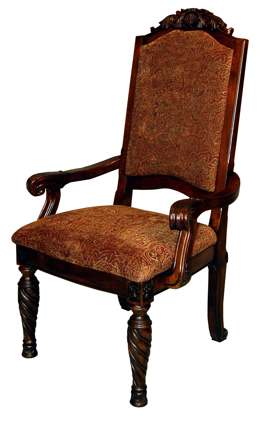 Pair of ornate brown mahogany upholstered back dining arm for Upholstered dining chairs with arms