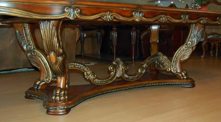 ornate dining room table and chairs. detail view1, view2 ornate dining room table and chairs u