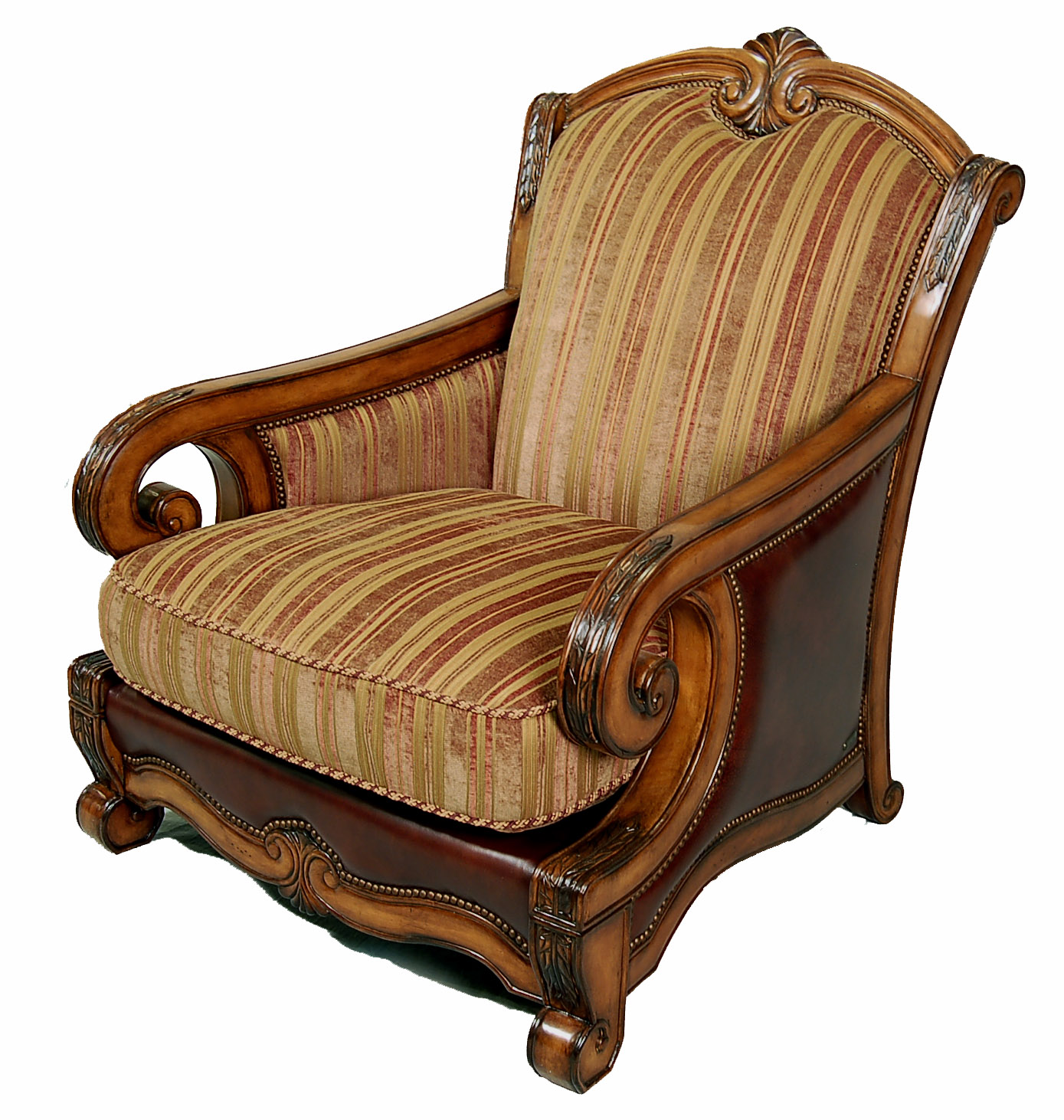 Traditional Italian Fabric And Leather Upholstered Living Room Accent Club Chair Ebay
