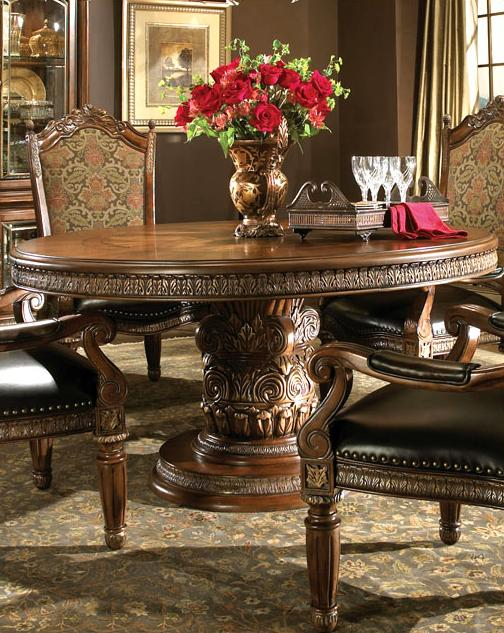 7 Piece Round Ornate Carved Dining Table And Six Chair Set EBay