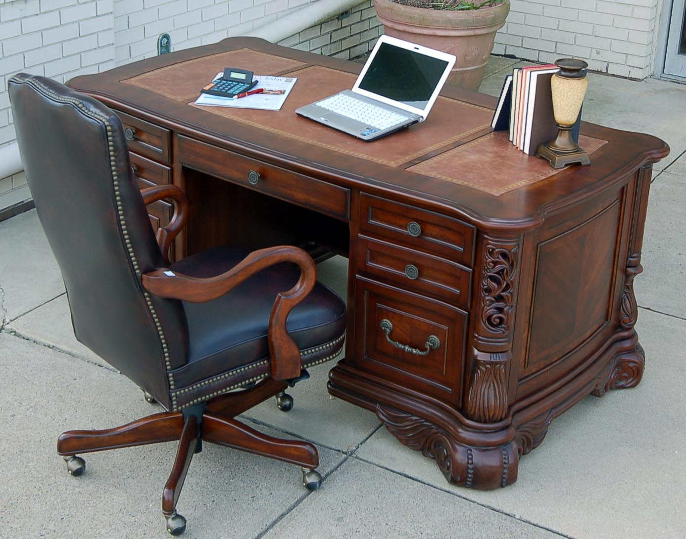 brown tone with home two desks mahogany chairs office in hutch sale desk furniture secretary computer finish warm