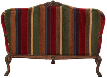 Traditional Queen Anne Settee Accent Chair With Multi
