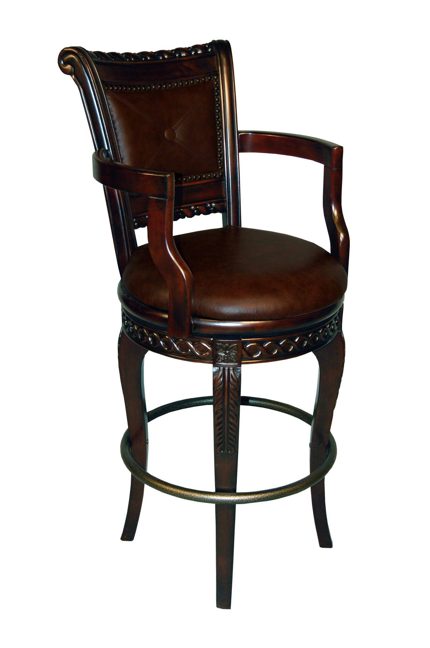 European Inspired Upholstered Captain Bar Stool