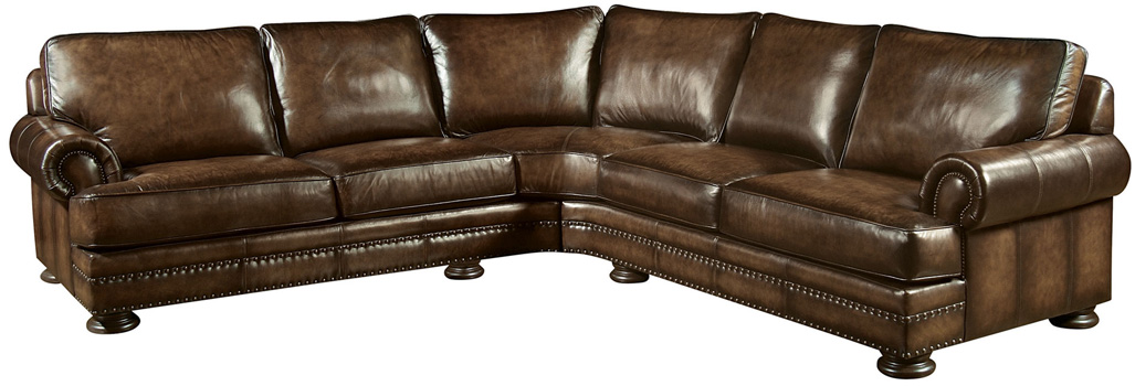 Mahogany and More Sectionals Brandy Top Grain Leather