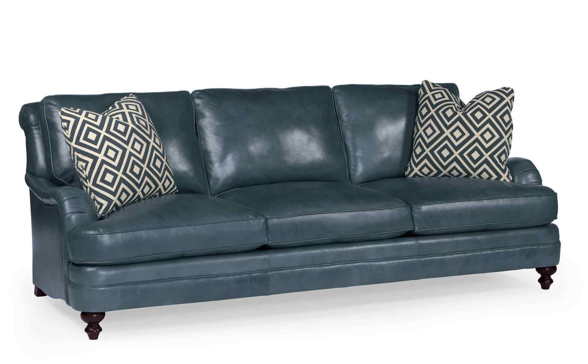 Mahogany and More Seating - Aleah Blue Genuine Leather Sofa
