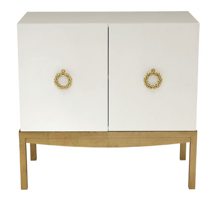 Mahogany and More Accent Tables Dynasty White Gold Two Door Accent