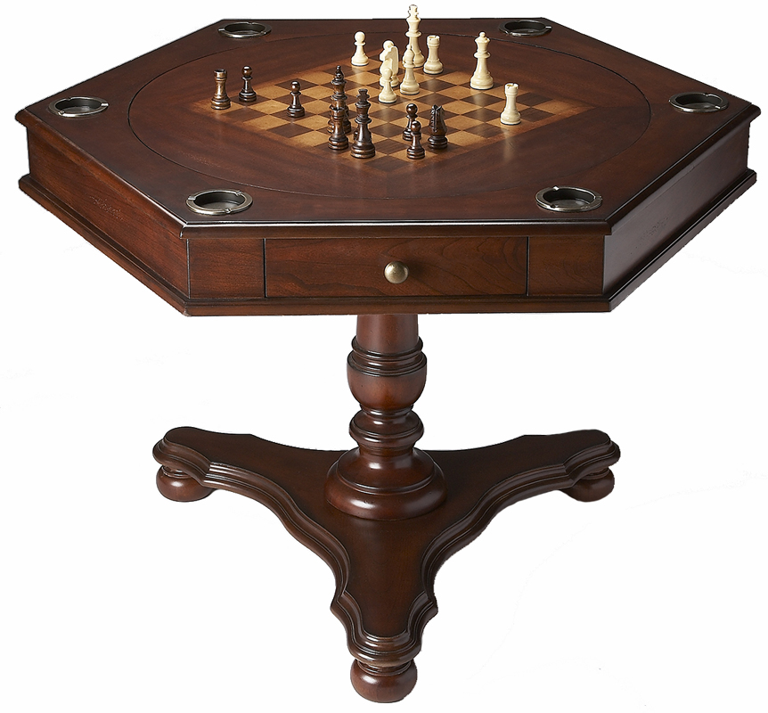 Dark cherry hexagonal two sided accent game table ebay for 3 sided dining room table
