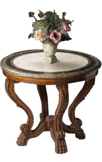 Mahogany and More Accent Tables - Stone Top 36 Inch Entry-Foyer Table