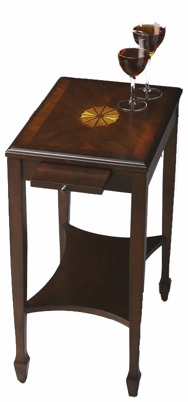 Rustic Cherry Rectangular Table Formal Dining Room Set: Petite Cherry Chair Side Table