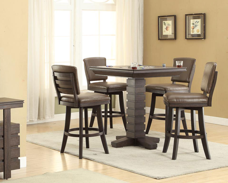 Highball 5 Pc Black Oak Bar Height Game Table Set ...
