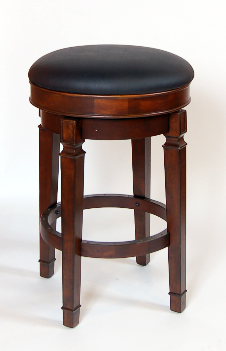 pair of walnut heavy strong bar height backless swivel stools leather seat ebay. Black Bedroom Furniture Sets. Home Design Ideas
