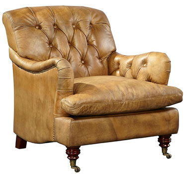 Brutus Button Tufted Top Grain Leather Club Chair Full ...