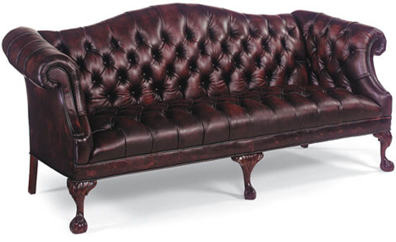 Tufted Burgandy Leather Ball Claw Sofa Ebay