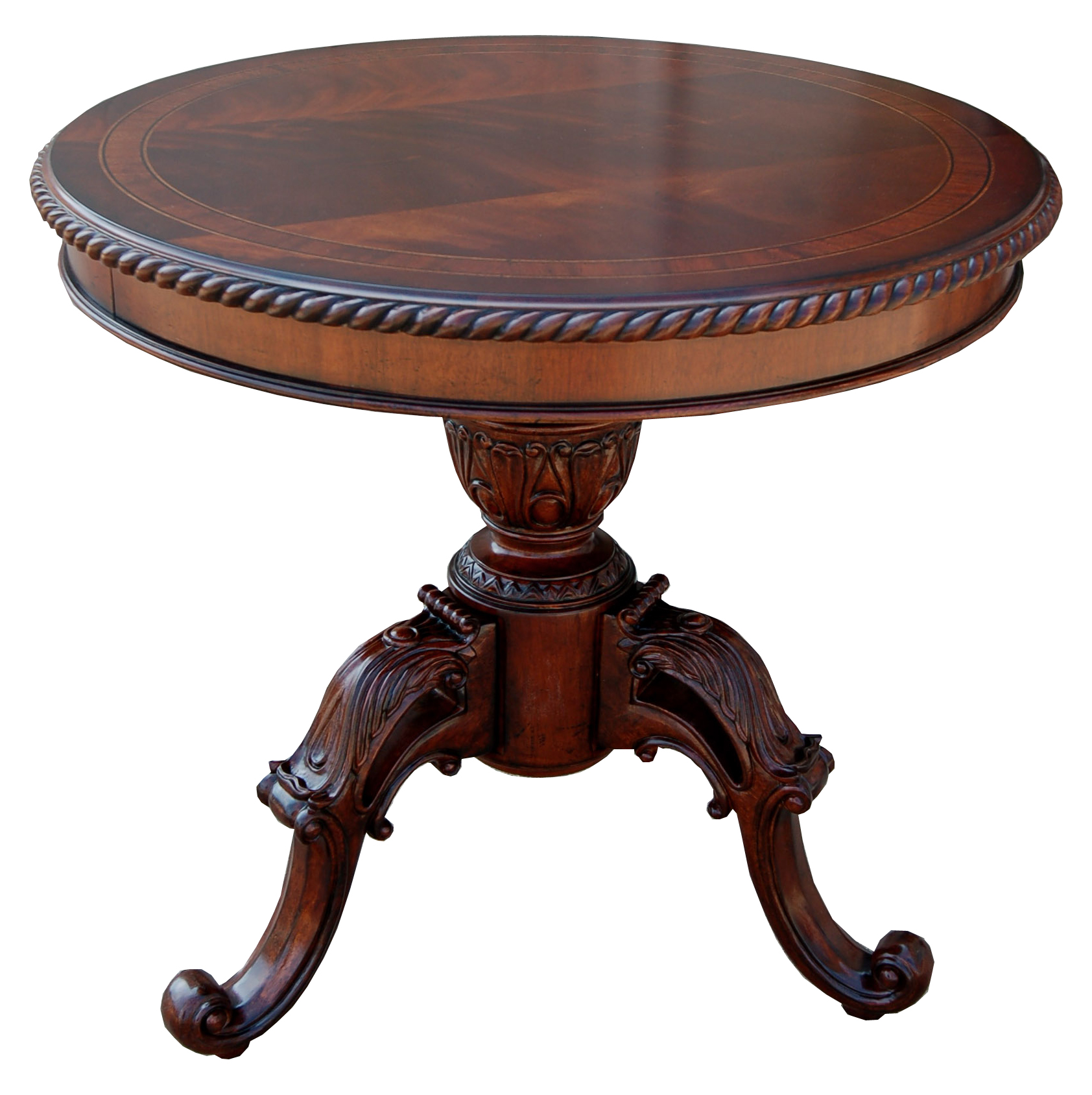 Traditional ornate mahogany round accent end table for Circle table