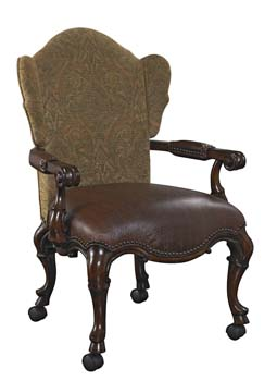 Brown Leather Wing Back Game Chair W/Casters ...