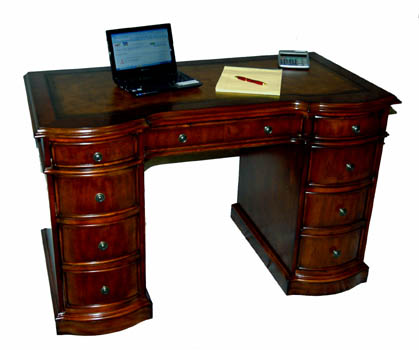 Mahogany and More Desks - Small Cherry Kneehole Desk Leather Top