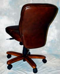 Mahogany and More Office Chairs - Brown Leather Armless Desk Chair