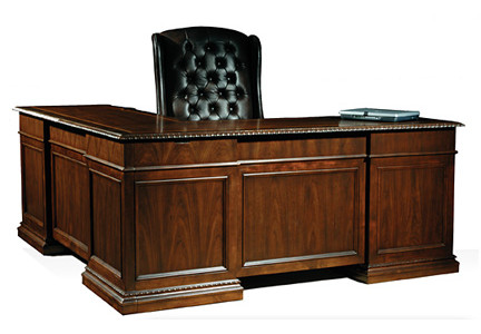 Old World Walnut Executive Office L Desk