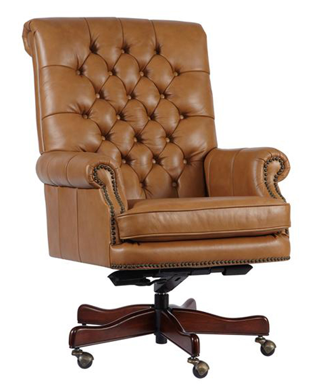 Tan Leather Tufted Back Executive fice Desk Chair