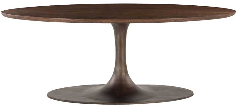 Merveilleux Designer Oval Pedestal Table Solid Wood U0026 Iron ...