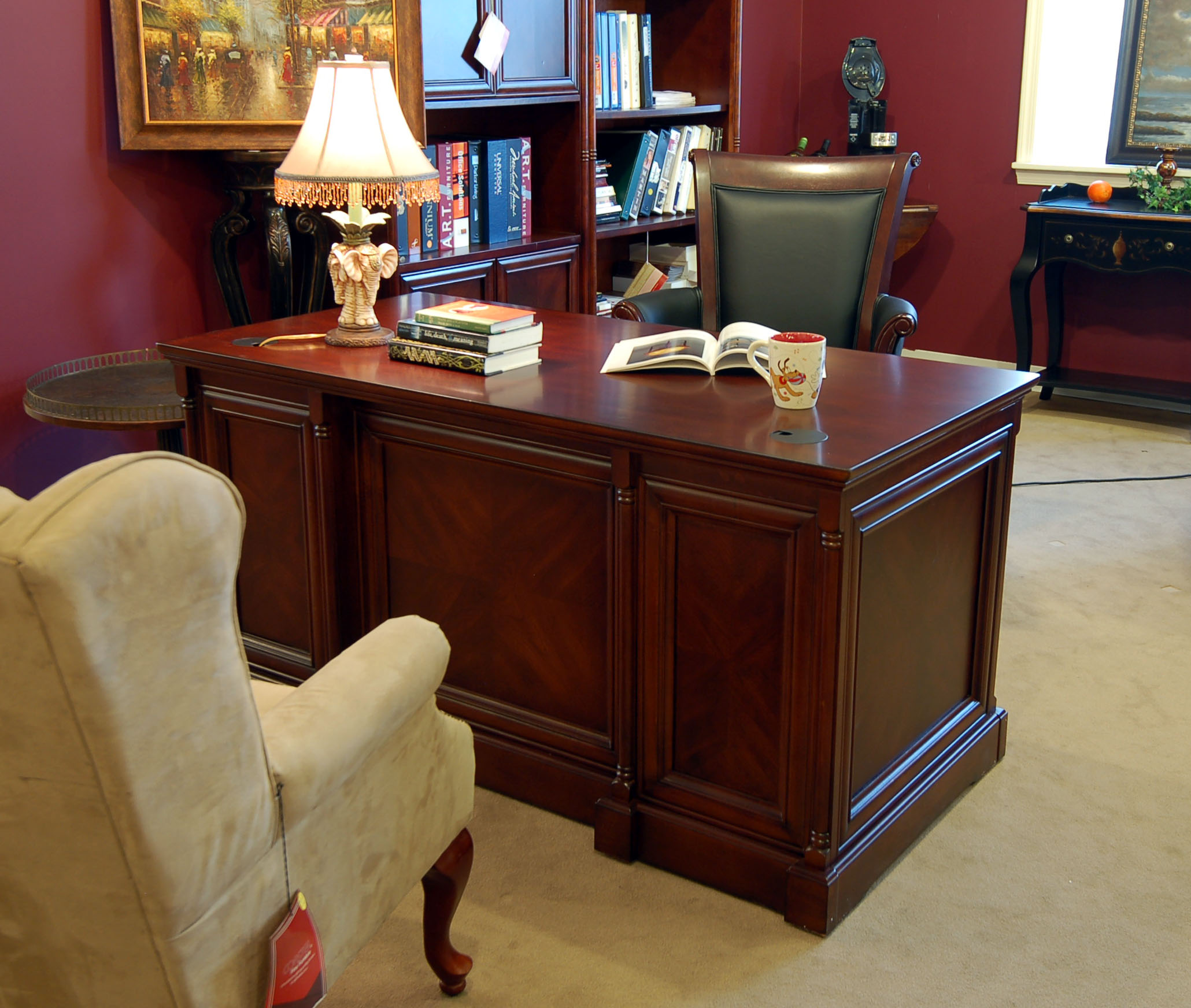 Executive office desk - Space Saver Executive Office Desk Enrich Your Office With The Space Saver Executive Office Desk Conveniently Crafted With Two Locking File Drawers