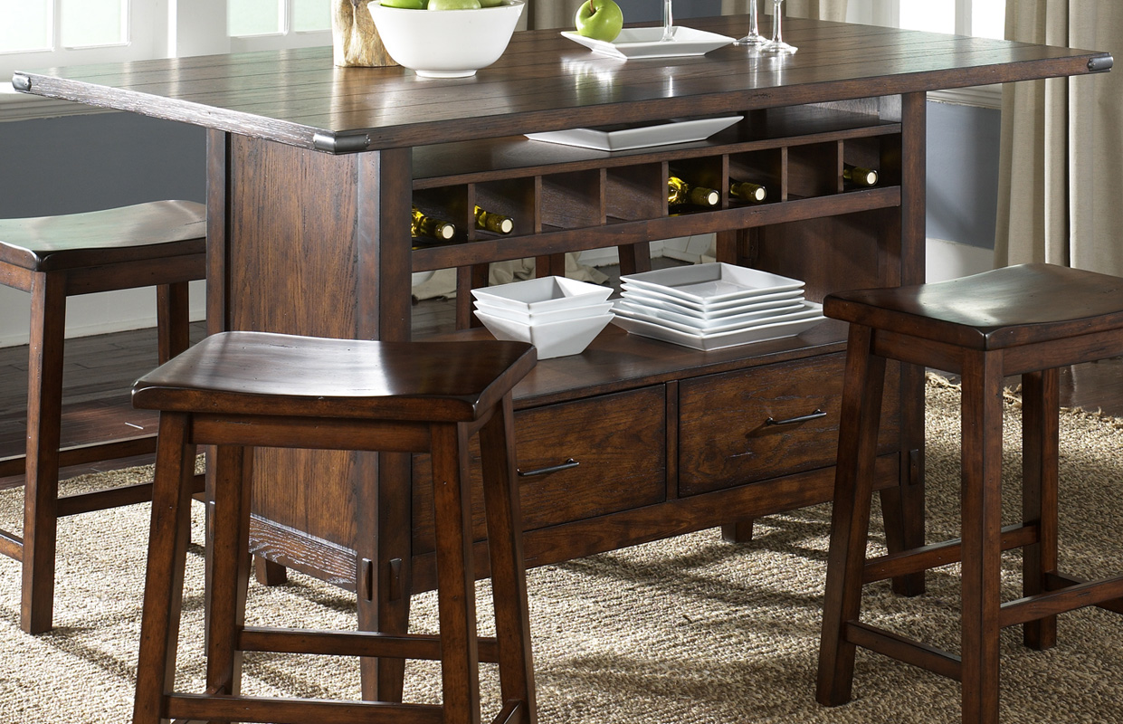 Oak Planked Counter Height Dining Table With Wine Storage