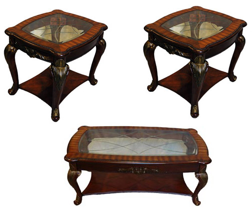 3 piece cherry glass top occasional coffee end table set ebay. Black Bedroom Furniture Sets. Home Design Ideas