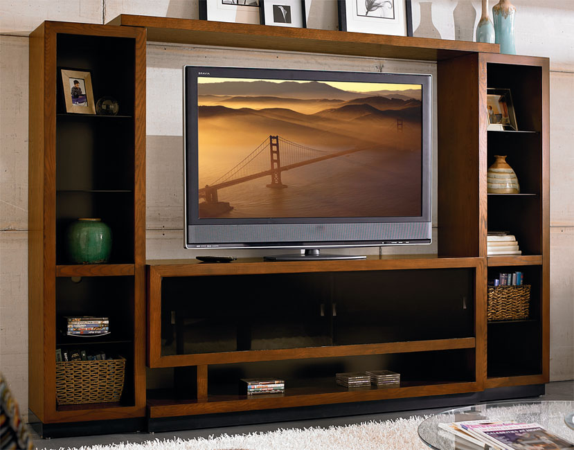 106 4 Piece Contemporary Caramel Ash Entertainment Center