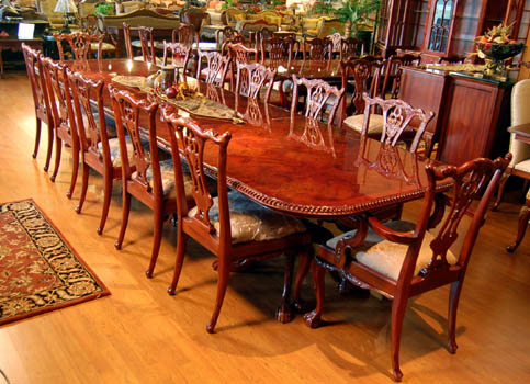 Mahogany and More Dining Tables - 12 Ft Chippendale Burl Mahogany ...