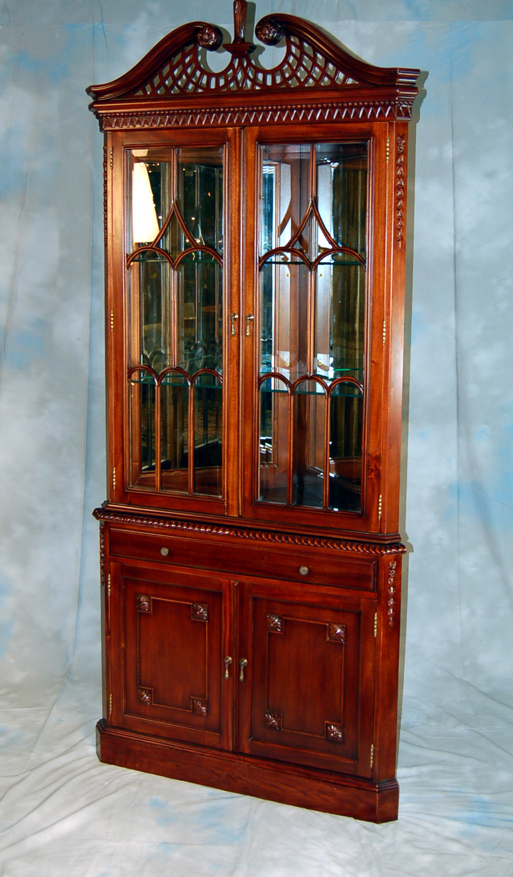 Mahogany China Curio Display Corner Cabinet Ebay
