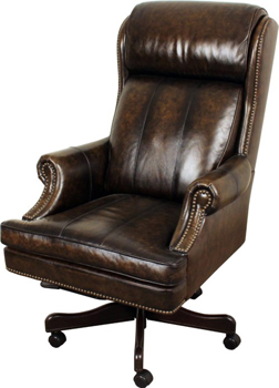 mahogany and more office chairs - rich chestnut genuine leather