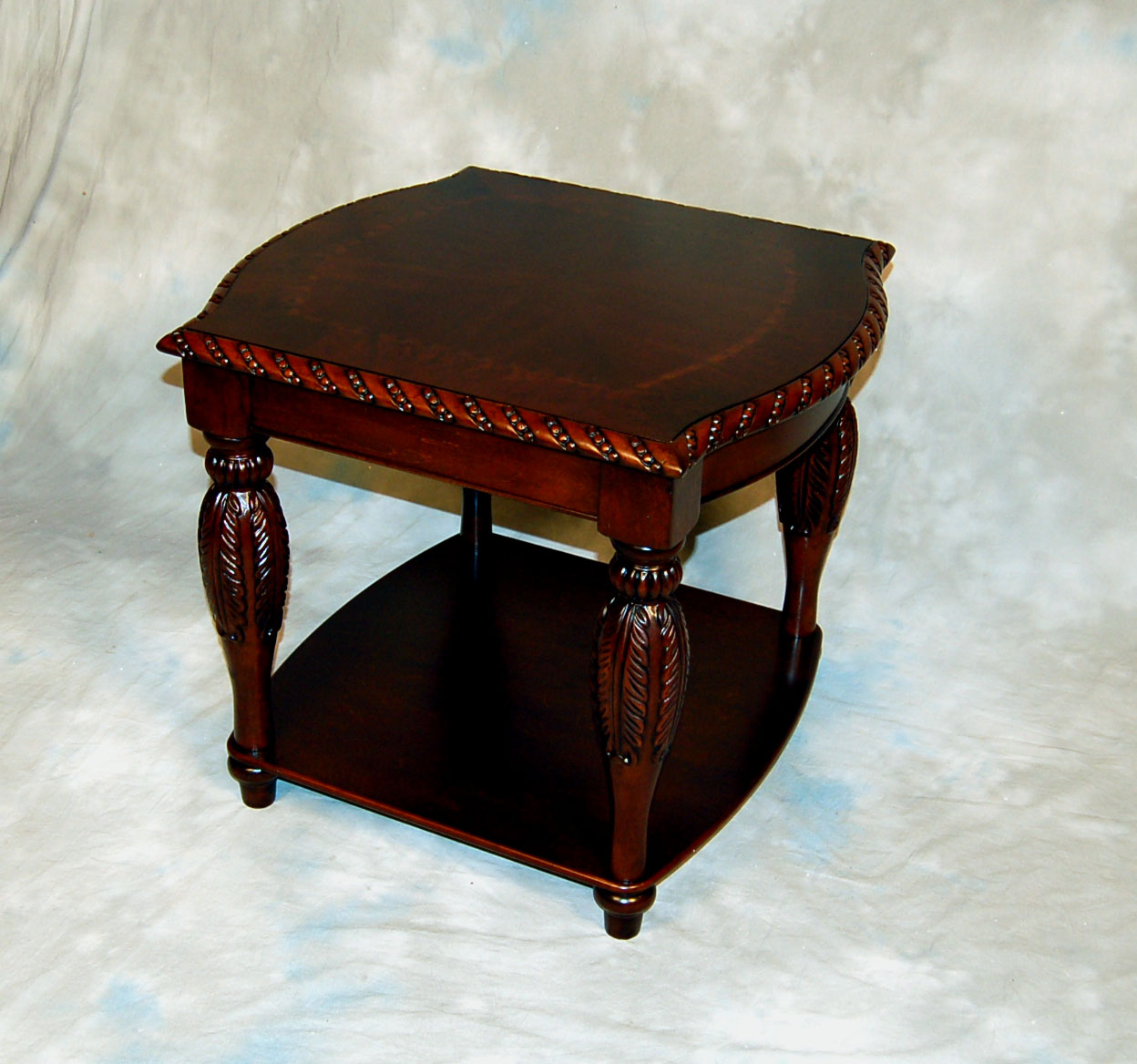 Brown carved mahogany coffee table and 2 end table set ebay for Mahogany coffee table