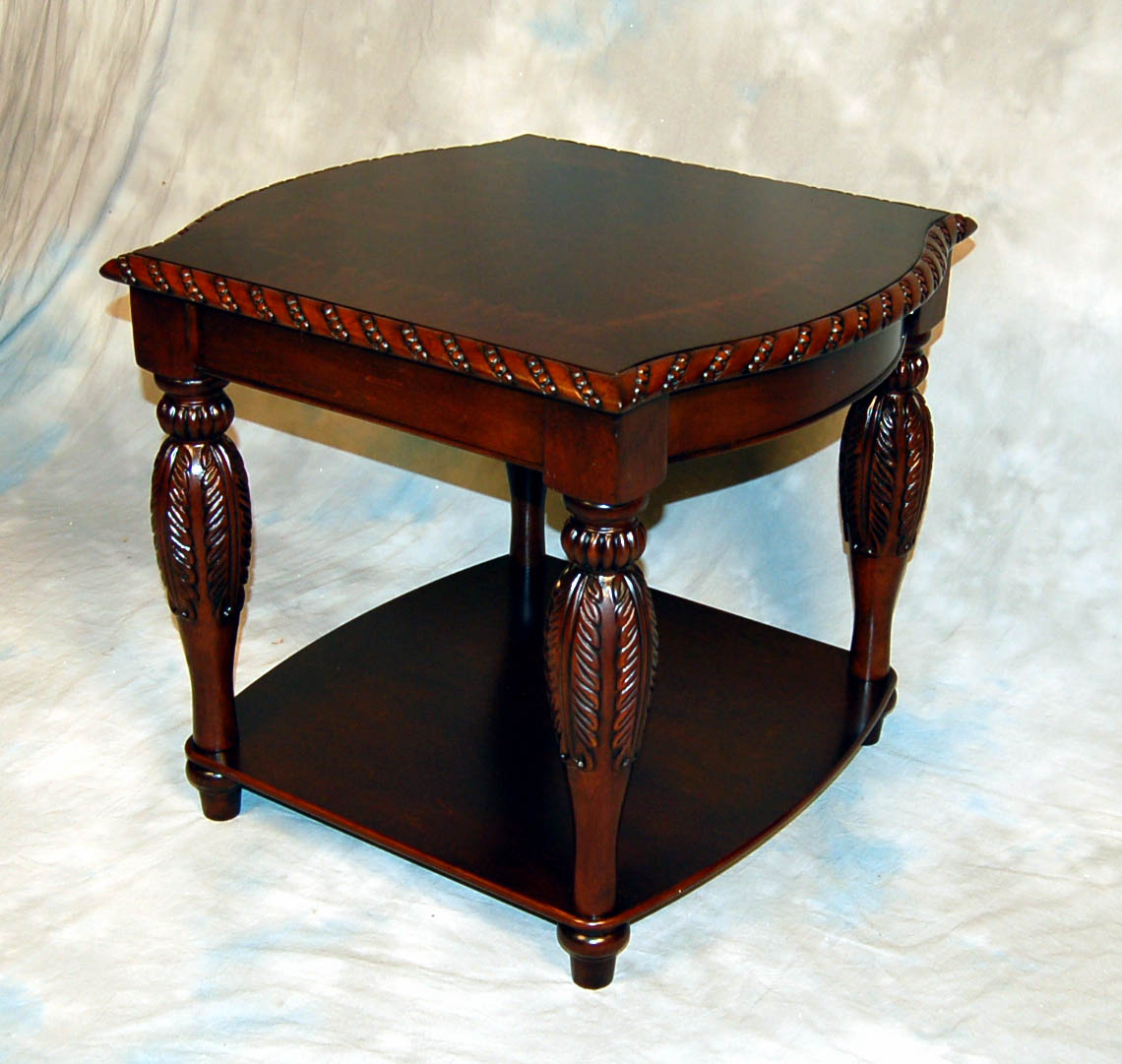 3 piece carved brown mahogany occasional coffee end table for Clearance end table set