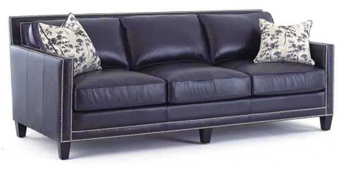 mahogany and more seating navy blue top grain leather sofa