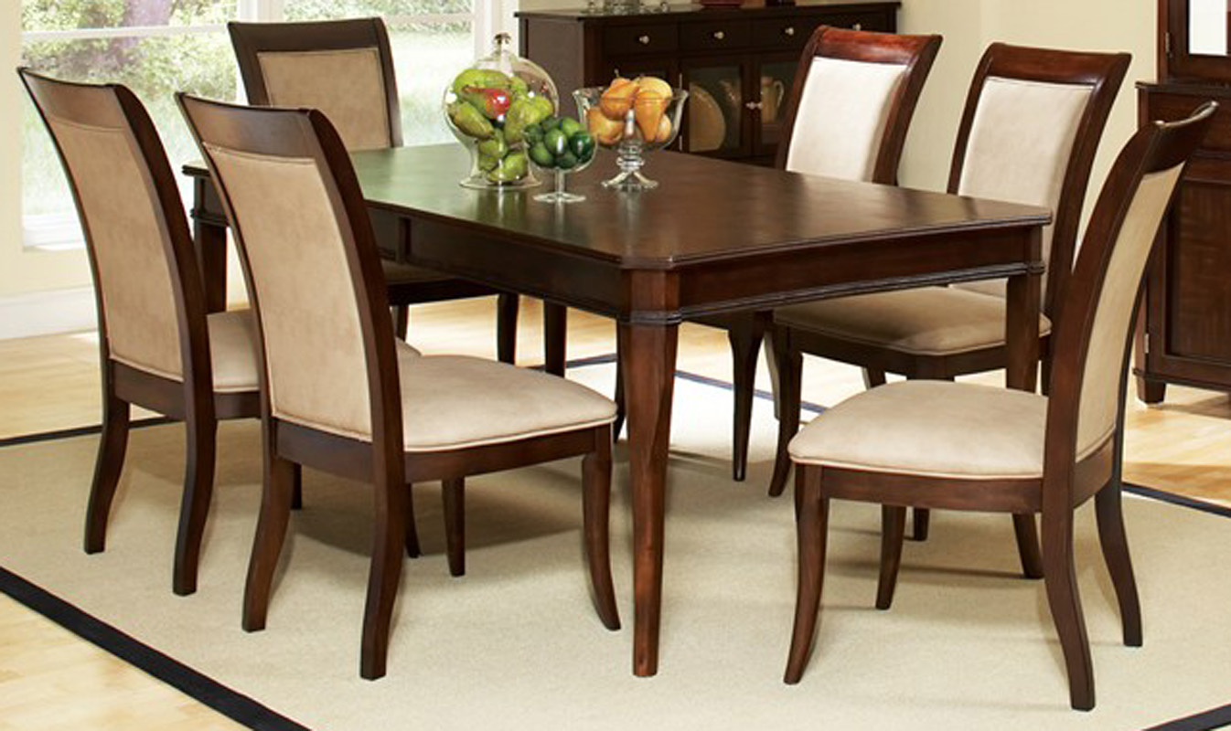 90 Rectangular 7 Piece Dining Table And Chair Set EBay
