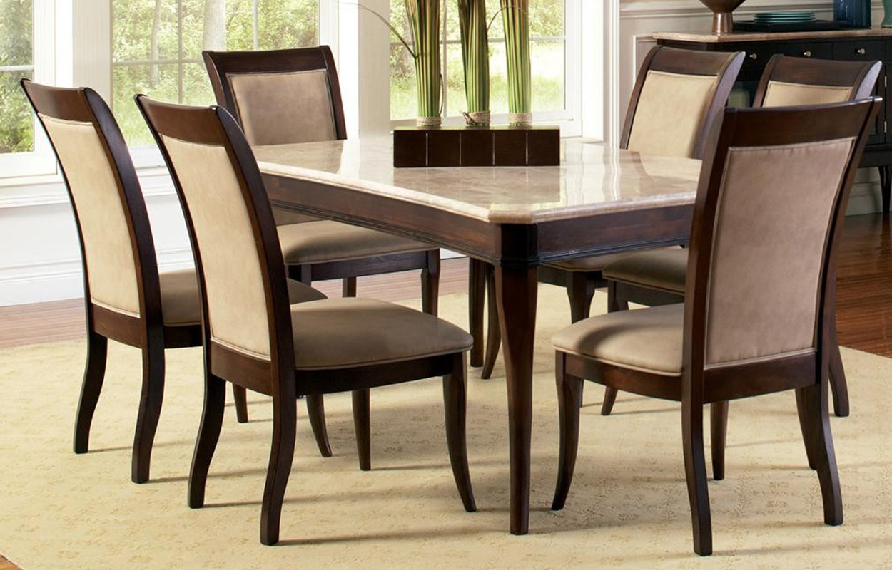 Contemporary marble top 8 piece dining table and chair set for Modern dining table and chairs set