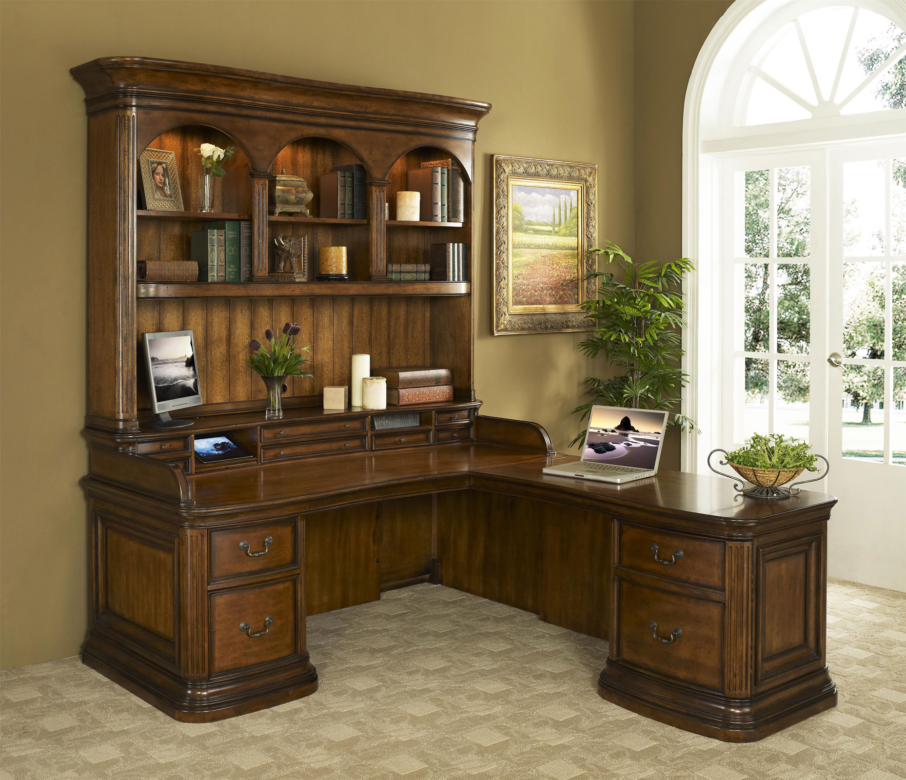 l shaped wood desk with hutch almirah beds