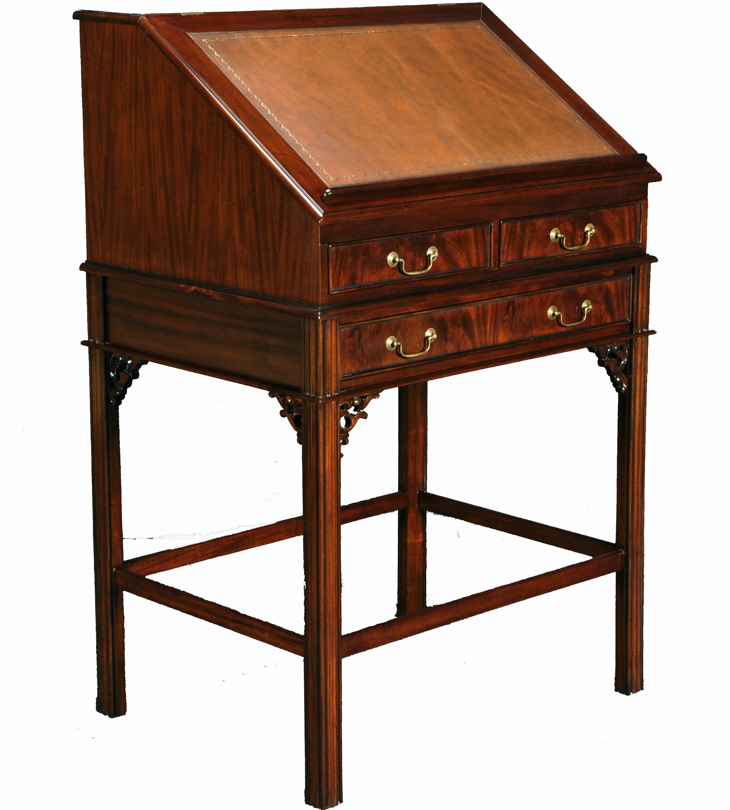 Tall Mahogany Wood Stand Up Secretary Desk Full View 1