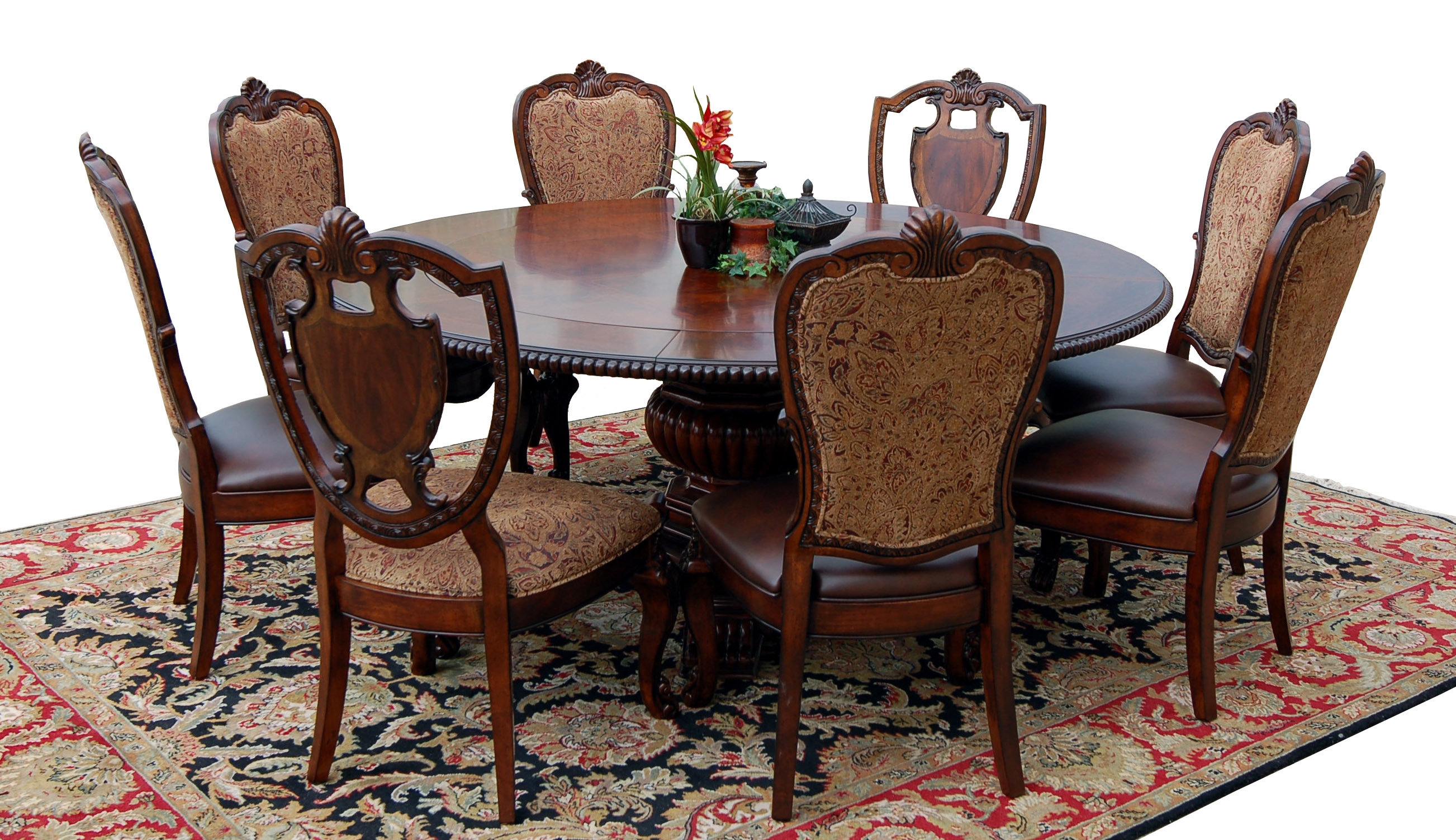 Round 9 Piece Old World Dining Table amp Chair Set Cherry  : fullview1exp from www.ebay.com size 2605 x 1503 jpeg 839kB