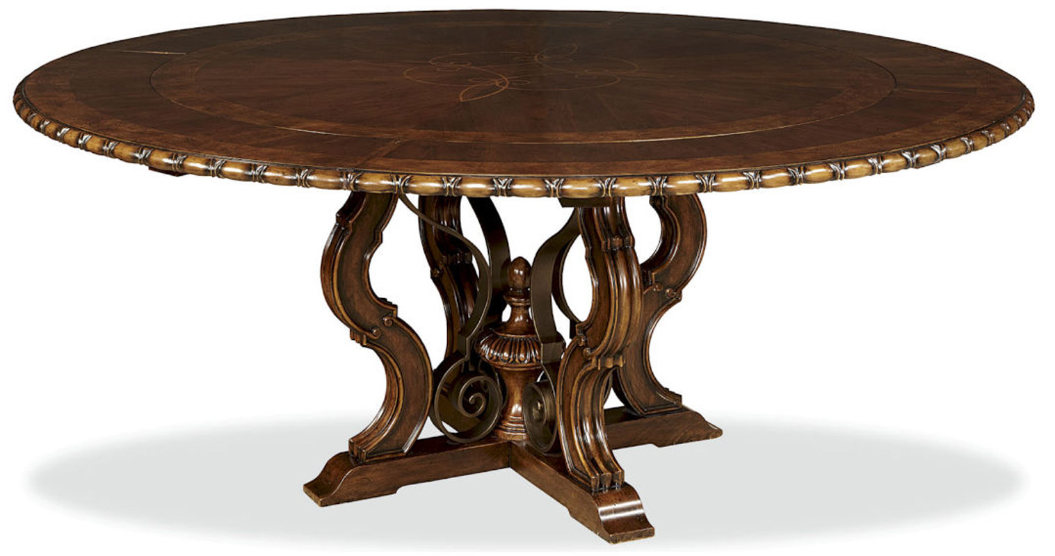 unique cherry 76 round dining table with leaves ebay. Black Bedroom Furniture Sets. Home Design Ideas