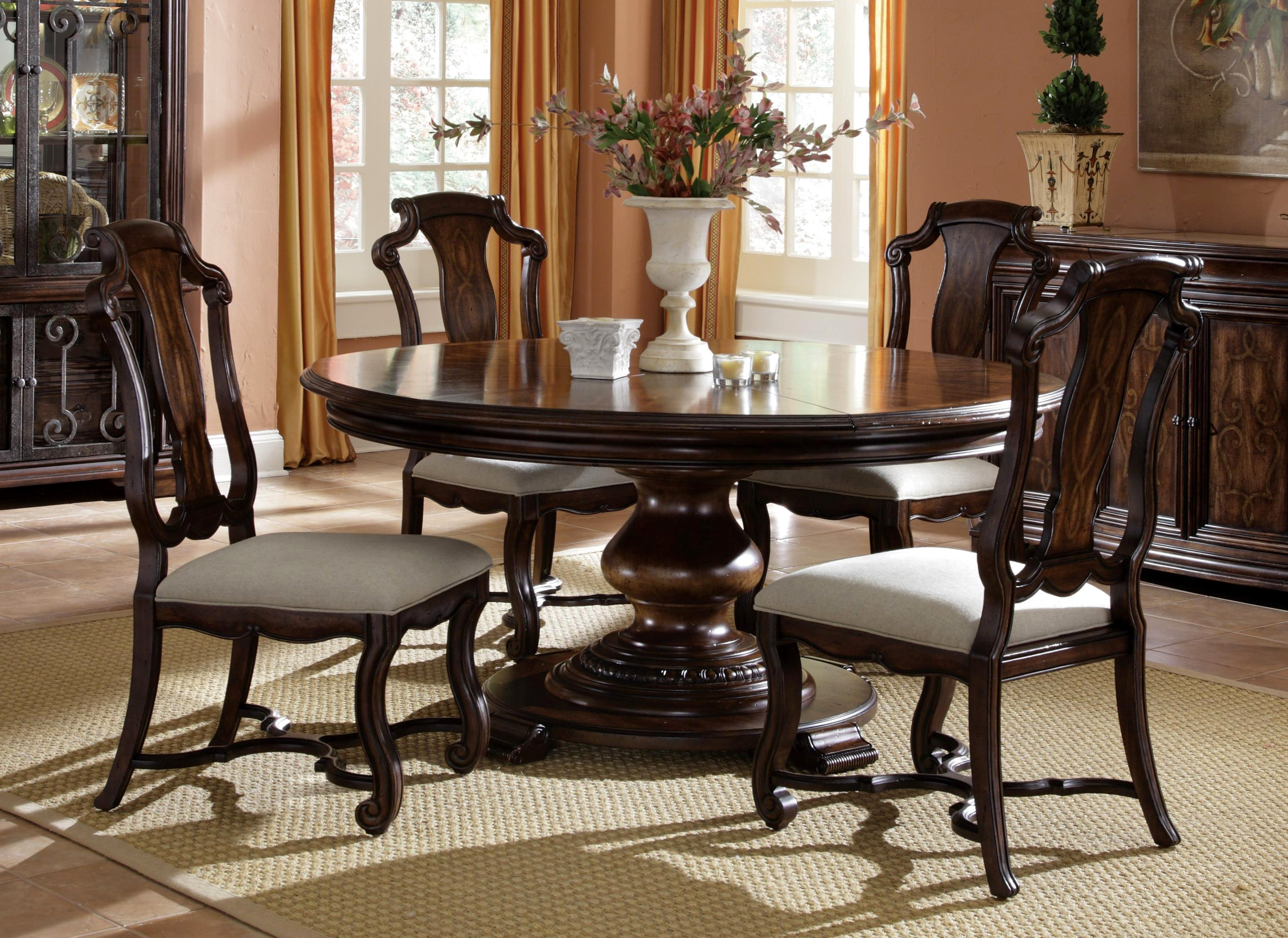 round space saver dining table w self storing leaves ebay. Black Bedroom Furniture Sets. Home Design Ideas